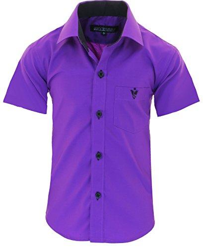 GILLSONZ A70vDa Kinder Party Hemd Freizeit Hemd bügelleicht Kurz ARM 7 Farben Gr.86-158 (98/104, Lila)