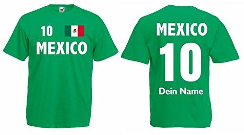 Mexico T-Shirt mit Wunschname und Wunschnummer Trikot|g-l - Tri El De Mexico