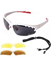 Rapid Eyewear Luna White UV POLARISED SPORTS SUNGLASSES For Men & Women With Interchangeable Tinted & Clear Lenses. Anti Fog Mirror Lenses. Ideal Glasses For Cricket, Tennis, Sailing, Rowing etc