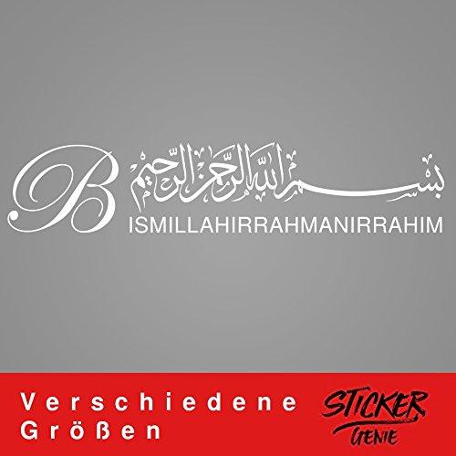 BESMELE Bismillah Wandtattoo Aufkleber Wandaufkleber Aufkleber Sticker Islam (30cm (B) x 6,29cm (H) XS, Weiss)
