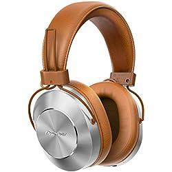Pioneer SE-MS7BT(T) Casque Bluetooth Circum-aural (Microphone, Audio haute résolution, NFC, Lecture 12 heures, Grand confort, pour Smartphone, Tablette, Système Hifi, Design aluminium), brun argent