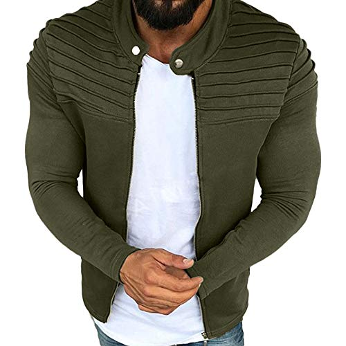 JYJM Herren Cardigan Reißverschluss Jacke Herren Herbst Winter Windbreaker Falten Slim Streifen Fit Strickjacket Mantel Winterjacke Einfarbig Oberbekleidung Raglan Langarm Top Coat Outwear -
