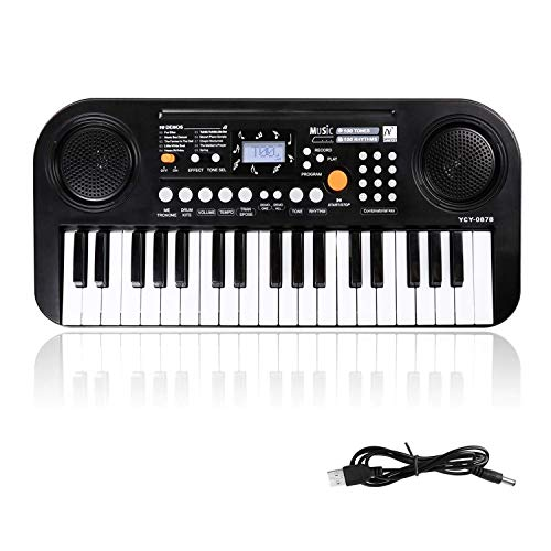 Kinder Keyboard, 37 Tasten Klaviere Doppel-Lautsprecher LCD-Display Keyboard Kind Elektronische Orgel, Musikinstrument pädagogisches Spielzeug Geschenk für Kind Kinder Kleinkinder(Schwarz)