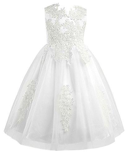 iEFiEL Mädchen Kleid festlich Party Prinzessin Kleid Hochzeit Blumenmädchen Kleider Festzug Kleidung 98 110 116 128 140 Elfenbein 110