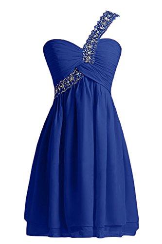 Sunvary Festlich Ein-Traeger Perlen Chiffon Cocktailkleid Abendkleid Royalblau