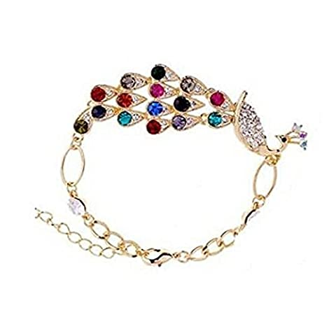 Domire Multi Vintage Colorful Crystal Peacock Bracelet Bangle anklet