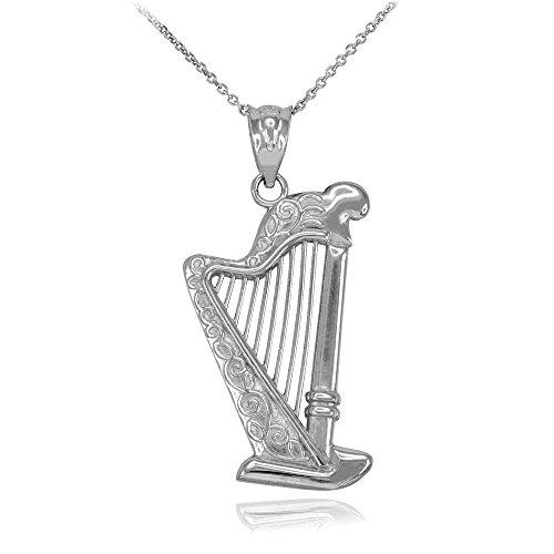 Halskette 925 Sterling Silber Harfe Musik Anhänger Halskette (Kommt mit einem 45cm Kette)