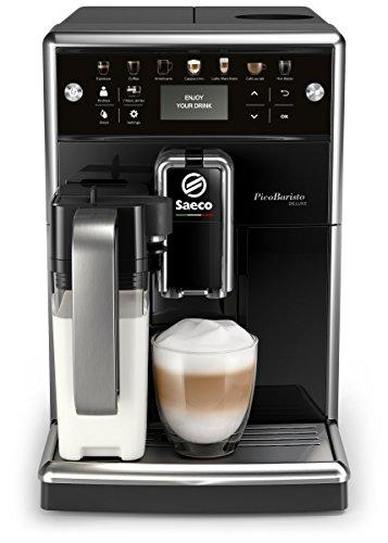 Saeco PicoBaristo Deluxe SM5570/10 Macchina da Caffè Automatica, con Caffè Americano e Display LCD a Colori, 12 Bevande, Macine in Ceramica, Filtro AquaClean, Caraffa Latte Premium Integrata, Nero