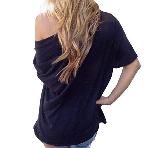 TININNA sexy di estate casuale allentato del Breve Manicotto T-shirt per signore donne Nero