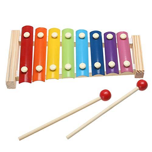 RUICK Xylophon aus Holz, Regenbogenfarben, für Kinder im Vorschul-Lernen, Musikentwicklung, Mehrfarbig, Perkussionsinstrument, 2 Xylophon-Schlägel