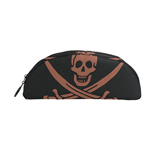 bennigiry Cool Pirat Flagge Totenkopf Halbkreis Bleistift Fall, großes Fassungsvermögen Pen Tasche Pen Pouch Stationery Tasche Reißverschluss Box Office Organizer Travel Make-up Tasche