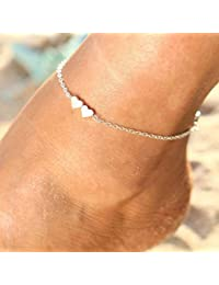 526675448 Simsly Boho Beach Heart Anklet Silver Ankle Bracelets Foot Jewelry For  Women and Girls