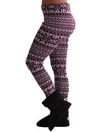 EyeCatchClothing - Frauen-Nordic-Stil warmen Stretch stricken Damen Leggings One Size
