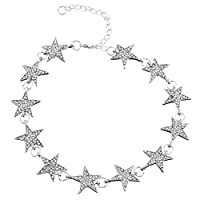 MJARTORIA Womens Vintage Silver Color Star Rhinestone Bride Collar Necklace