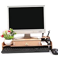 TourKing Monitor Stand Riser with Drawers, Desktop,Laptop Stand Riser with Keyboard Storage Space for Home & Office Use