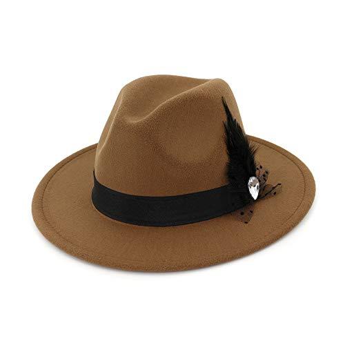 Jusheng Frauen Hut Breite Flache Krempe Wollfilz Jazz Hut Woll Western Cowboy Hut Floppy Hut Feder Bühne Party Hut (Farbe : ()