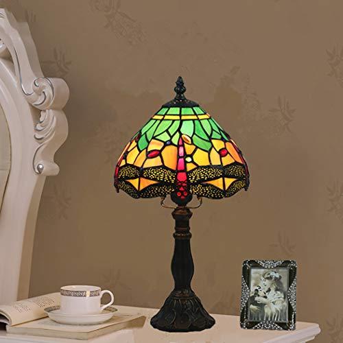 AIBOTY 8-Zoll-Libelle Tiffany Stil Glasmalerei Tischlampe mit Zink-Sockel, handgefertigte Multicolor antiken Schreibtisch neben Schlafzimmer,Green -