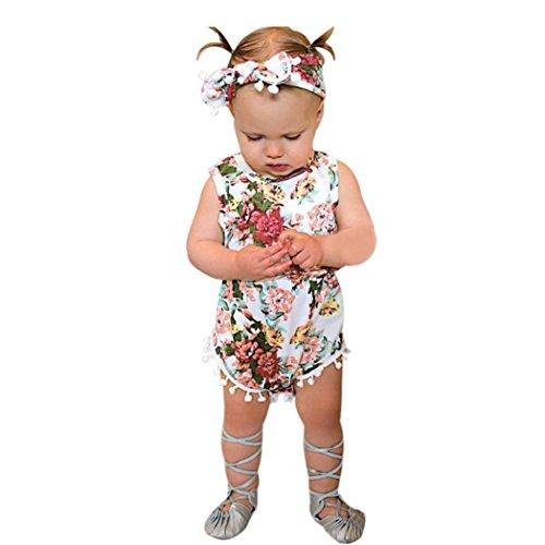 Bekleidung Longra Baby Neugeborenes Kleinkind Mädchen Floral Sommer ärmellos Body Strampler Overall Trägerkleid Babykleidung gesetzt (0 -24 Monate) (70CM 6 Monate, Pink)
