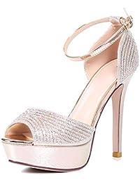 a481d345b81 GTVERNH Zapatos de Mujer Moda Diamond Fish Bocas Zapatos Hebillas Sandalias  Sandalias Zapatos De