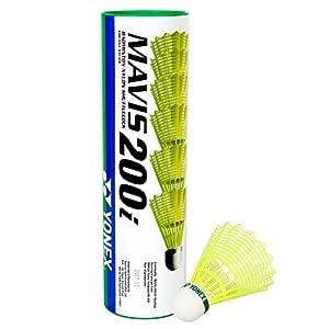 SNS Mavis 200i Nylon Shuttle Cock, Pack of 6 (Yellow) + Free Badminton Grip