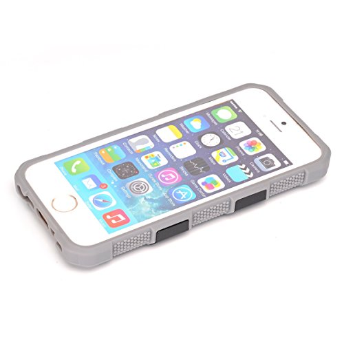 Coque iPhone SE 5SE 5 5S, Forhouse Double Couche Case Doux Ultra Mince Svelte TPU Heavy Duty Dur PC 2 in 1 Texture Brossé Hybride Durable Antidérapant Antichoc Peau Protection de Housse Etui pour iPho Gris + Noir