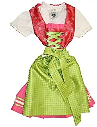 Fijo liches Niños tirolesa Rosa con blusa & verdes Tracht Delantal Talla 62–164