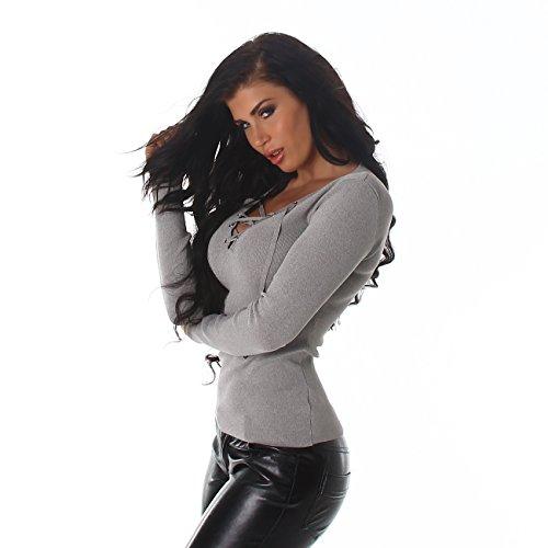 Voyelles Damen Pullover Sweater Sweatshirt Langarm Ripp-Shirt V- Ausschnitt Schnüre 34,36,38,40 Hell-Grau