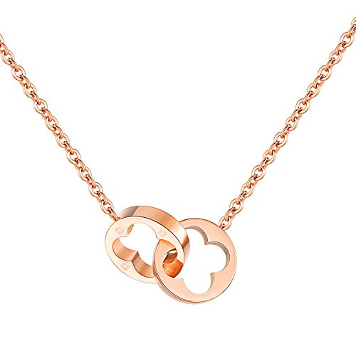 bigshopDE Edelstahl Damen Anhänger Ringe Kleeblatt Design Halskette Kette Schmuck Farbe Rosegold