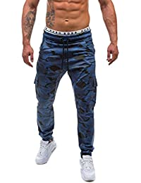 e1f1da2979680 Homme Pantalon Cargo Motif Camouflage,OverDose Casual Vintage Jogging  Carotte Slim Sportwear