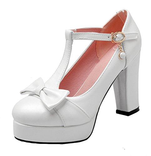 YE Damen Süß T-Strap Blockabsatz High Heels Plateau Pumps mit Schleife 10cm Absatz Schuhe (Patent Pump T-strap)