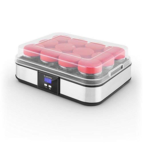Klarstein Gaia yogurtera (elaboración de Yogur casero, 12 tarros con Cierre de Rosca de 210 ML, Volumen Total de 2,5 litros, Temporizador, Pantalla LCD, Acero Inoxidable) - Negro