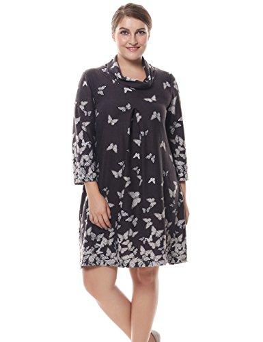 Chicwe Damen Kleid Große Größen Rollkragen Cashmere Touch 52, Grau (Cashmere-rollkragen-kleid)