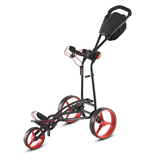 BIG MAX AUTOFOLD FF 2016 Golf Trolley 3-Rad Schiebetrolley (Schwarz/Rot)