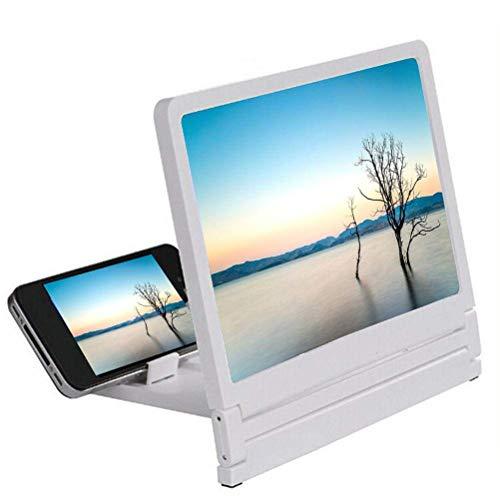 Phone Screen Magnifier 12 '' Telefon Bildschirm Lupe Smartphone Lupe Desktop Faltbarer Ständer Halter für alle Smartphone Anti-Strahlung PSM-002,White