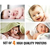 MANIAL Set of 4 Cute Baby Combo Posters | Smiling Baby Poster | Poster for Pregnant Women | HD Baby Wall Poster for Room Decor (300GSM Thick Paper, 12x18-Inch, Gloss Laminated, Multicolour)