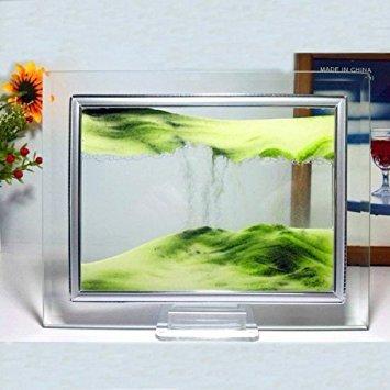 Grüne Moving Sand-Glas-Bild Home Office Schreibtisch Dekor Geburtstag Weihnachtsgeschenk w / Halter (Wüste Müdigkeit)