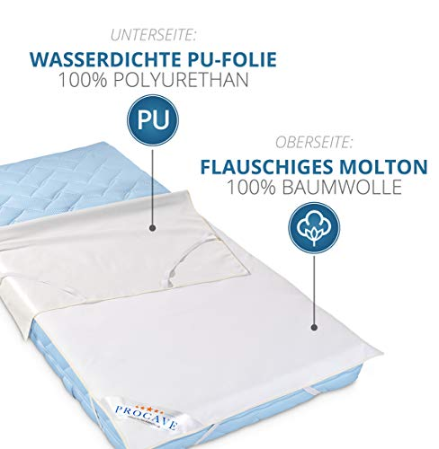 PROCAVE wasserundurchlässige Matratzenauflage in verschiedenen Größen – Made in Germany | Matratzenschoner wasserdicht 60×120 cm | Kopfkissenschoner - 3