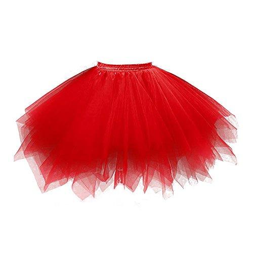 VKStar® Retro Damen Kurz Rock Ballett Einheitsgröße Vintage petticoat 50er Unterrock Reifrock Mehrfarbige Unterröcke Rot