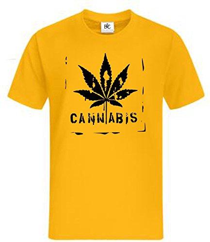 Cannabis T-Shirt Fun Shirt Kult T-Shirt Bong Gras Haschisch Weed Joint Dope Gelb