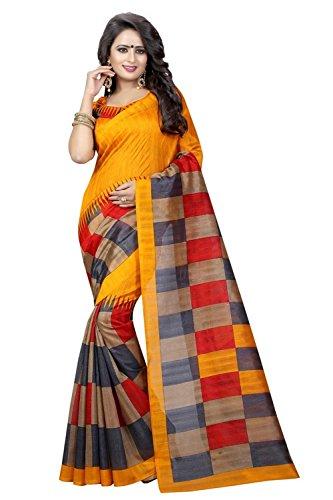Traditional Fashion bhagalpuri silk Saree With Blouse Piece (TFS216_MUSTERD_Free Size)