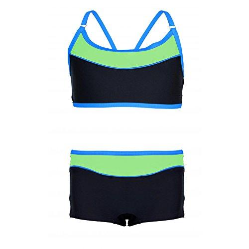 Aquarti Mädchen Sport Bikini - Badehose & Racerback Oberteil, Farbe: Schwarz/Grün, Größe: 140