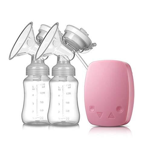 Électrique Double Coffre Pompe Massages Coffre Du lait Nourriture Extracteur de lait Traite Machine Automatique Intelligent Du lait Collecteur Avec USB Chargement pour Maternelle Bébé,Pink