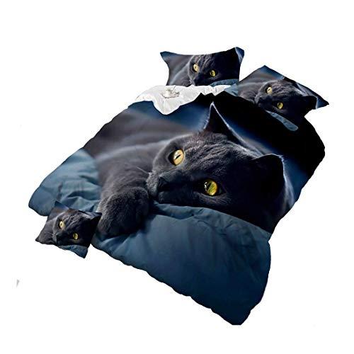 Puruitai 3D Black Cat Bettwäsche-Set, Schwarze Baumwolle, für Kinder/Erwachsene, Bettlaken/Bettdeckenbezug/Kissen-Set, King-Size-Größe, 4-teilig