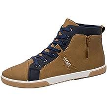 Fami Scarpe da Uomo Zipper Shoes Fashion High Top Scarpe Casual Uomo Scarpe Stringate