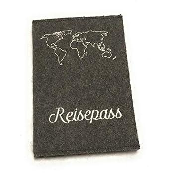 Reisepass Hülle Einschub Cover aus Wollfilz ökologisch handmade in Germany Name personalisiert Gravur