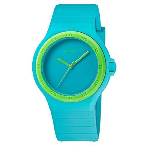 M WATCH Maxi Damen-/ Herren-Uhr, Zifferblatt und Silikonarmband in Türkis mit Lünette, Swiss Made