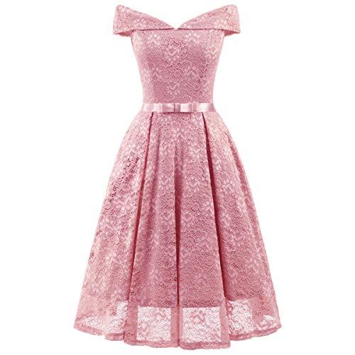 ZLDDE Damen Elegant Spitzenkleid festliches Cocktailkleid (Grecian Kleid Plus Größe)