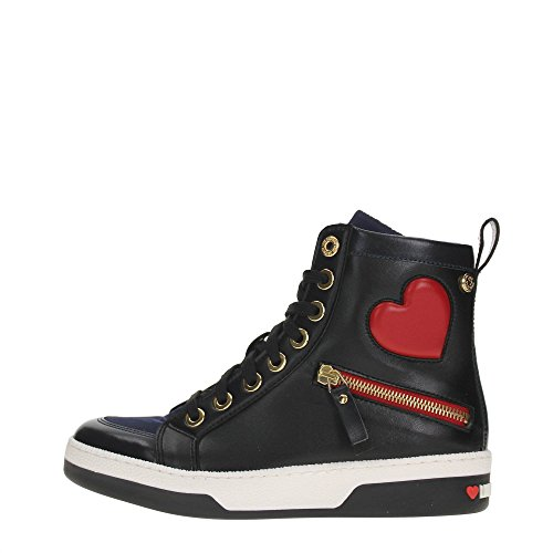 LOVE MOSCHINO sneakers donna ECOPELLE BLACK BLUE JA15033G12IJ175A, Black, 35