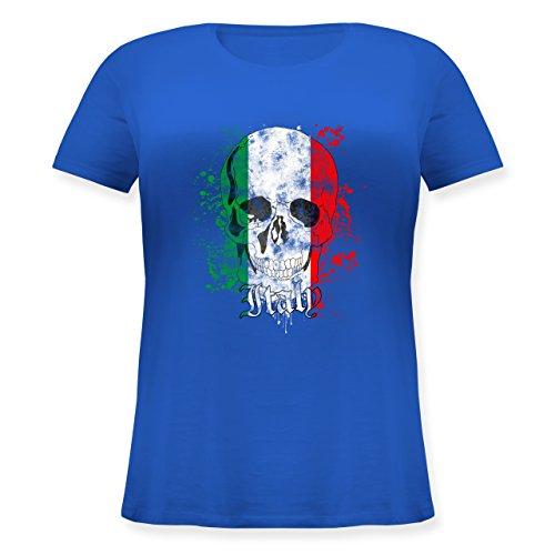 EM 2016 - Frankreich - Italy Schädel Vintage - Lockeres Damen-Shirt in großen Größen mit Rundhalsausschnitt Blau