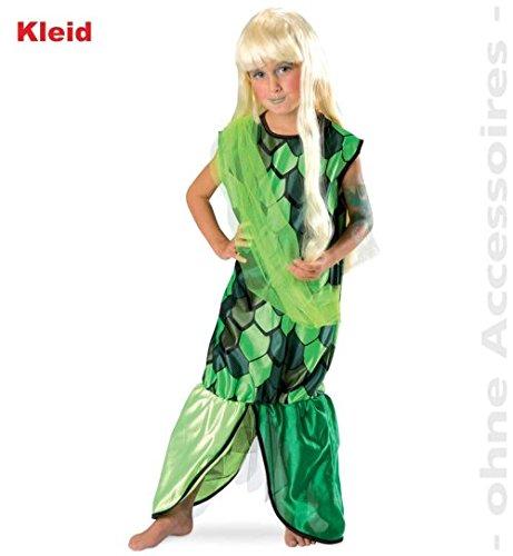 Kostüm Meerjungfrau Und Seemann - narrenwelt Nixe Meerjungfrau grün 116 1tlg Kleid Mädchen Kinder-Kostüm Fasching